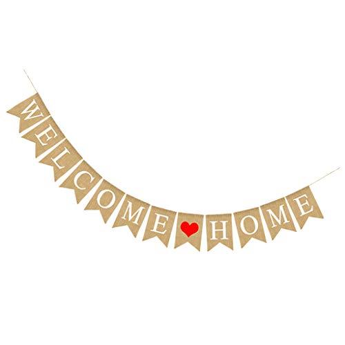 girlande Wimpelkette Fahnengirlande Girlande Kette mit Buchstaben Design für Party - Willkommen zu Hause Herz ()