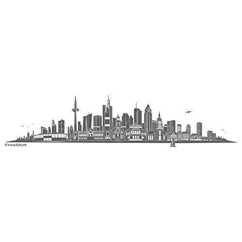 WANDKINGS Wandtattoo Skyline Frankfurt 120 x 30 cm - Dunkelgrau - 35 Farben zur Wahl