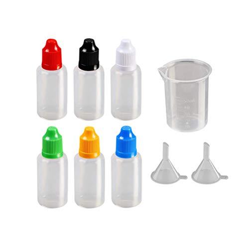 Toyvian 15 STÜCK Tropfen Flasche 20 ML Split Trichter Messbecher Set Leere Kunststoff Squeezable Tropfflaschen Auge Flüssigkeit Dropper