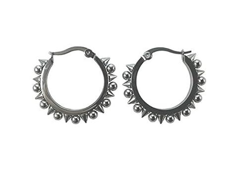 Damen Ohrringe Creolen Chirurgenstahl Edelstahl Silber mit Spitzen und Perlen, Geschenkbeutel