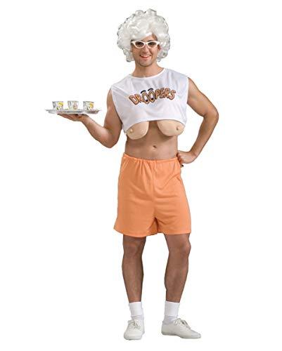 Sexy Hupen Helga Servicegirl Kellnerin mit Hänge-Titten Kostüm für Herren (Sexy Lustige Kostüm)