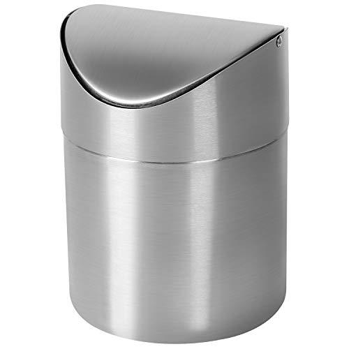 Mini Pattumiera - Acciaio Inox da Tavolo Bidone(Nuova Versione) - Pattumiera Piccola della Spazzatura, Adatto per Cucina, Bagno, Ufficio(Argento)