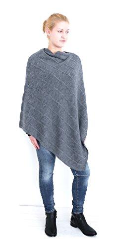 Basic Damen Poncho Jacke Zopfmuster Überwurf Cape Stola Plaid Umhang Cardigan (8354) (Einheitsgröße - S, M, L, XL, XXL, graphit) (Mode Pants Tricot)