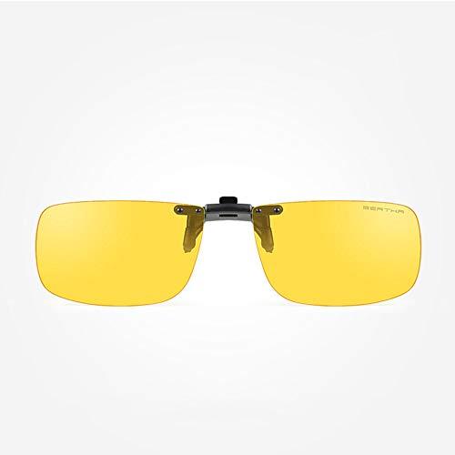 Nachtfahrt polarisierte Brille Clip, Edelstahl-Legierung Rahmen, Fahren polarisierte Anti-Glare-UV400-Schutz Driving Brille Clip für Männer, Frauen,S