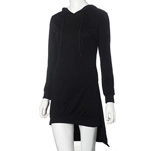 IHRKleid® Robes Femmes Hooded hip-huggers manches longues Noir