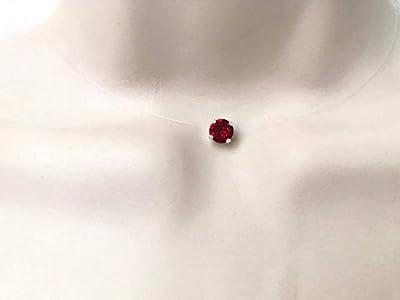 Collier ras du cou strass de swarovski cristal rouge grenat fil de nylon transparent