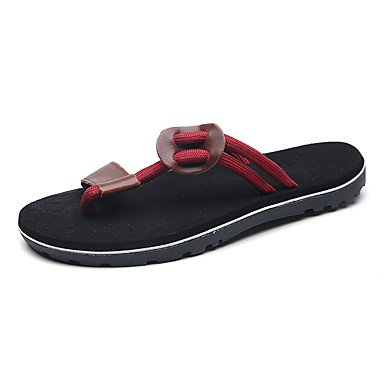 Slippers & amp da uomo;Comfort PU primavera-estate casuale del tacco piatto nastro cravatta Nero Marrone Rosso Wal sandali US8 / EU40 / UK7 / CN41
