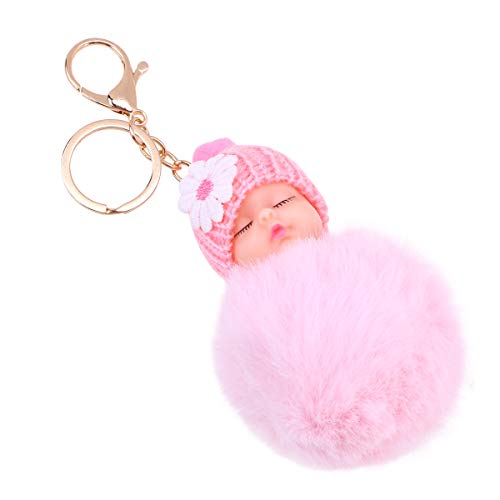 Vosarea Plüsch Hairball Keychain Baby Doll Anhänger Dekorationen Weihnachten Party Favors (Pink) (Favors Party Pink)