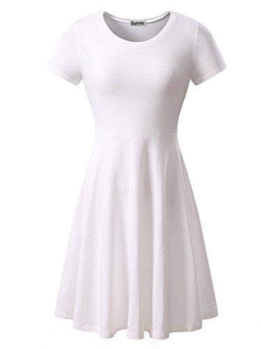 Suimiki Damen Skaterkleider Knielänge Rundhals Stretch Basic Kleide, Reines Weiß, M (Weiße Kleider Für Halloween)