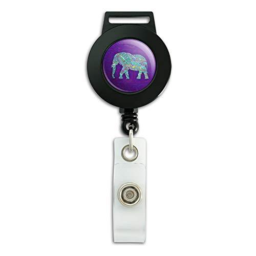 Mosaic Elephant Lanyard Retractable Reel Badge ID Card Holder