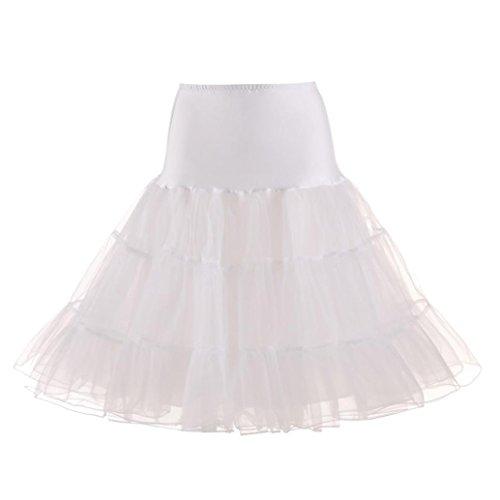 Tutu Kleid Petticoat Tutu Rock Unterrock Kurz Ballett Tanzkleid Ballkleid Abendkleid Petticoat Reifrock Unterrock Underskirt Kleid für Party Hochzeit Show (Weiß, S) ()