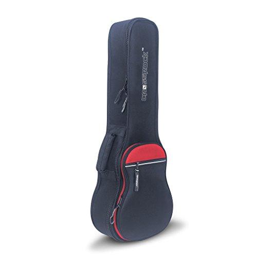 Crossrock CRSG106SUBK per ukulele soprano con custodia imbottita 10mm e tracolla imbottita in nero Baritono Black/Red