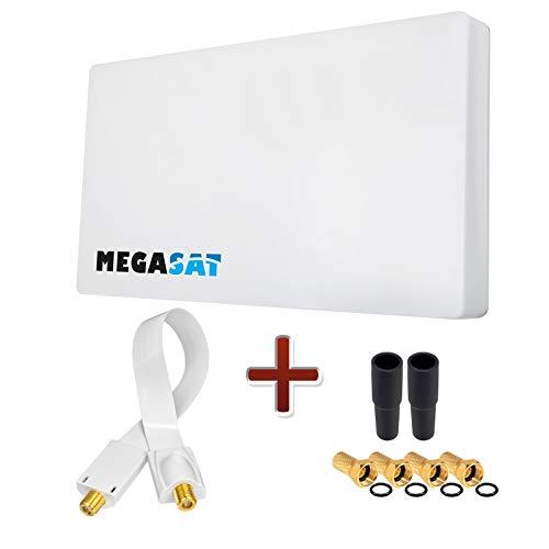 HB-DIGITAL Set: Megasat Sat-Flachantenne H30D1 Single 1 Teilnehmer Direkt + Fensterhalterung + SAT Fensterdurchführung + 4X F-Stecker vergoldet + 2X Gummitüllen | Full HD TV 3D 4K