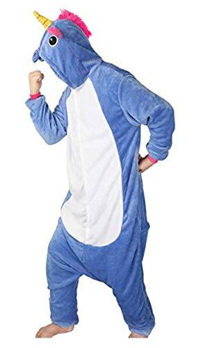 Pigiama o costume di carnevale halloween pigiama cosplay party onepiece intero animali unicorno regalo di compleanno per adulti adolescenziale ragazzi (m(155-168cm), blu scuro)