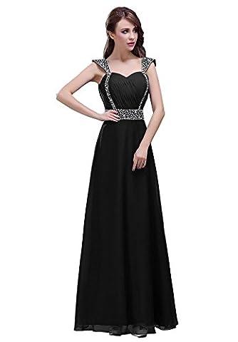 Edaier Women's Beaded Cap Sleeve Long Prom Dress Bridesmaid Dresses Size 14 Black