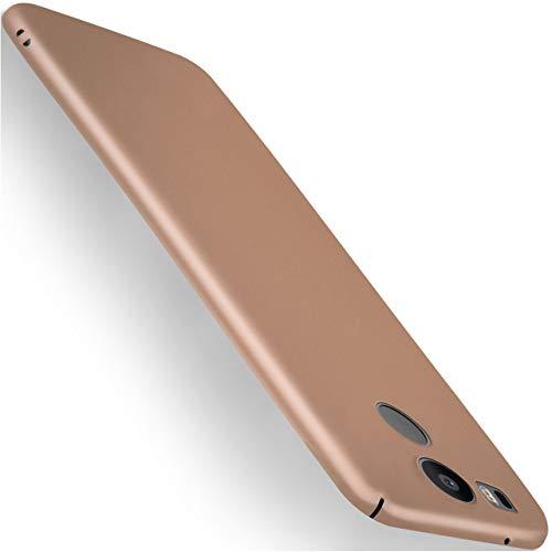moex LG Google Nexus 5X | Hülle Gold Alpha Back-Cover TPU Schutzhülle Dünn Handyhülle für LG Google Nexus 5X Case Ultra-Slim Thin Skin Handy Schutz Rückseite