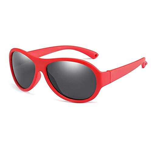 Wang-RX Kinder polarisierte Sonnenbrille Kinder ovale Sonnenbrille Mädchen Jungen Silikon UV400 Kind Spiegel Baby Eyewear TR90