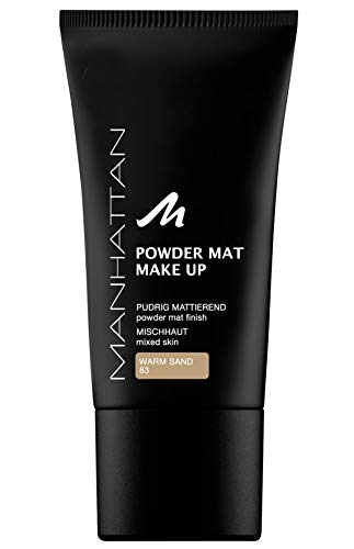 Manhattan Powder Mat Make-up, Mattierendes Puder und Foundation in einem, Farbe Warm Sand 83 (1 x 30ml)