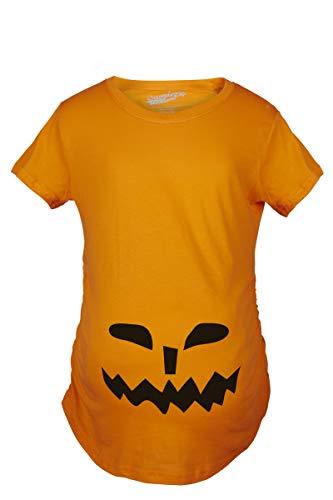 Crazy Dog Tshirts - Maternity Spikey Teeth Pumpkin Face Halloween Pregnancy Announcement T Shirt (Orange) 3XL - Damen - ()