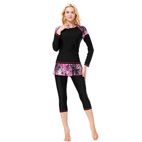 Xingsiyue 3 Stücke Burkini für Muslimische - Mama und Tochter Badebekleidung Modest Islamisch Dubai Badeanzug UPF 50+ Schnelltrocknende Schwimmen Kostüm Beachwear