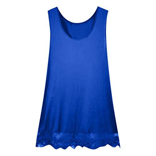 JUSTSELL ▾ Damen Bluse, Frauen Sommer Einfarbig Ärmellose Spitze Weste Kleid Rückenfrei Mini Slip Kleid Leibchen Ärmelloses Kleid Einsatz Tank Tops Damen Bluse ()