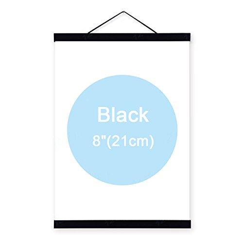 Schwarz 20,3cm natur Holz Rahmen, magnetisch, Poster Kunstdruck Artwork Leinwand zum Aufhängen Quilt Clip Aufhänger (Quilt-rahmen)