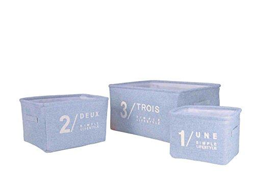 BesToop:3 Stück Stabile Aufbewahrungskorb, Aufbewahrungsbox Aufbewahrungskiste,Tisch Veranstalter Stoffschublade Schubladen Ablagefach, mit Griffe,Größe:40x30x21 cm, 30x20x18cm,20x15x15cm, Blau