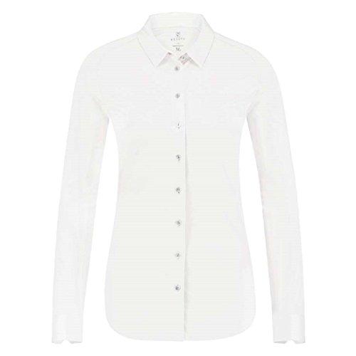 DESOTO bügelfreie Premium - Jersey Bluse aus mercerisierter Baumwolle Uni (44, weiß 01)