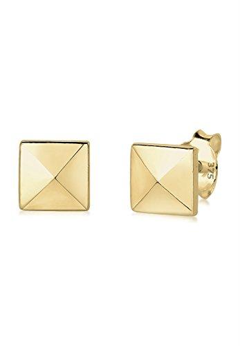 Elli Premium Damen Ohrstecker Viereck Basic 375 Gelbgold 0311822714