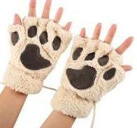 VI. Yo Frauen Mädchen HALF Finger Handschuhe Cute Cartoon Cat Claw Handschuhe Winter Warm Weich Dick Sports Handschuhe für Arbeit, Korallenvlies, beige, S