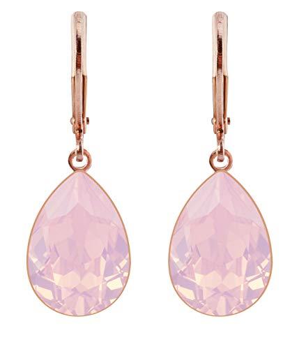petra kupfer Damen Ohrringe Ohrhänger Tropfen Anhänger 1 Swarovski®-Kristall Hell Rosa Rose Water Opal Vergoldet rdh1-rg-rose-water-opal