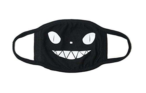 Sassy Pippi Unisex Süße Mundschutz Maske Emojimaske Kälteschutz Gesichtsmaske (Teufel-Schawarz)