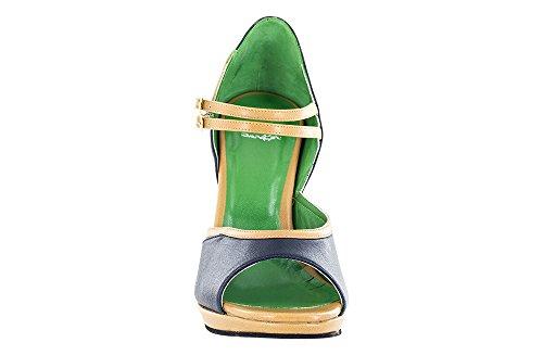 Chaussure De Danse Dancin Avec Plateau En Nappa Bleu Marine Et Beige Color, Drs Sole Talon 12 Cm Bleu Cobalt