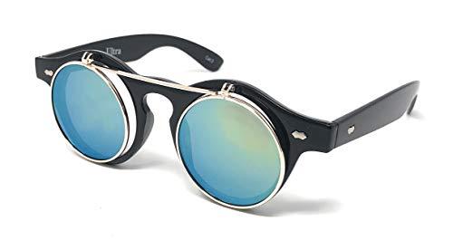 f4ca0922dba6 Ultra Black Frame Green Lenses Flip Up Circle Premium Quality Steampunk Glasses  Retro Women Men Round