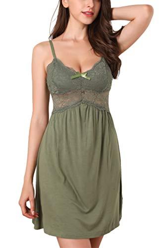 Memory baby donna sexy pizzo camicia da notte seta cinghia di spaghetti con scollo a v pigiama e camicia da note babydoll lingerie(verde,medium)