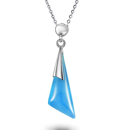 alskette mit Transparent & Big Cat 's Eye Kristall Anhänger, Personalisierte Geschenke für Geburtstag, Unisex Charms–