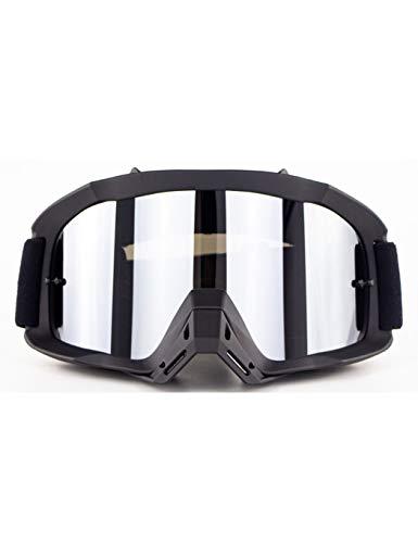 WYSTAO Sonnenbrille für Damen und Herren, Schutzbrille, Motocross-Windschutzscheibe, Skibrille, versilberte Gläser mit schwarzem Rahmen, einstellbare elastische Schutzbrille (Color : 2)