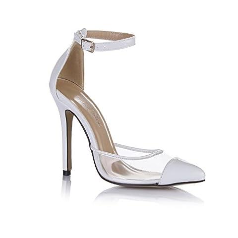 Klicken Sie auf Neu im Herbst Schuhe temperament Abendessen punkt Frauen Schuhe transparentes Glas Selbstklebende Weiße high-heel Schuhe, Weiß
