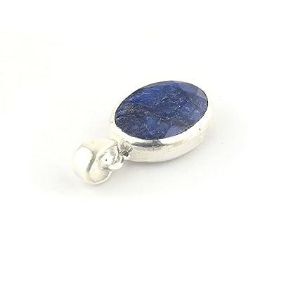 Pendentif ovale de minéral Saphir bleu serti d'argent 925, 18x14x6 mm