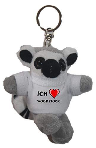 SHOPZEUS Plüsch Katta (Lemur) Schlüsselhalter mit T-Shirt mit Aufschrift Ich Liebe Woodstock (Vorname/Zuname/Spitzname)