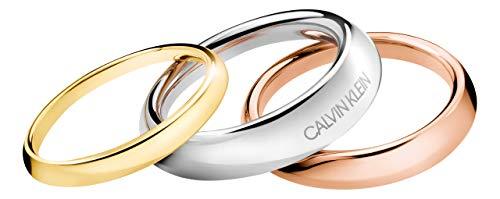 Calvin Klein Damen-Damenring Edelstahl 58 Tricolor 32004284