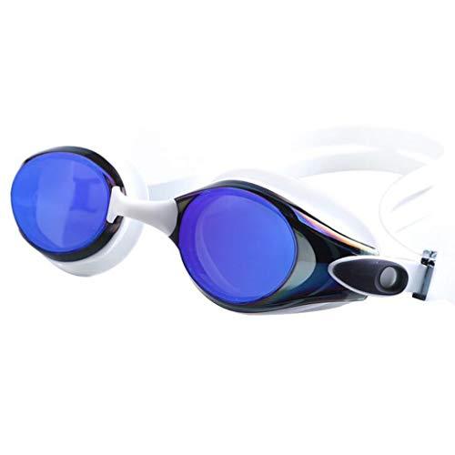 TD Schwimmbrille Brille Filmlinse Beschichten Großer Rahmen Wasserdicht Anti Nebel Brille Schwimmen Unisex (Farbe : Weiß) -