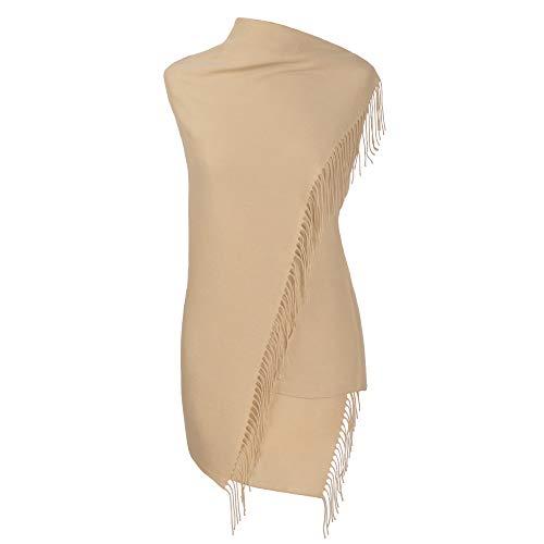 Fiolini Fiolini Pashmina Schal Stola Umschlagtücher Tuch für Damen - Super Weich - (beige)