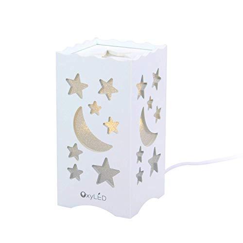 OxyLED LED Nachtlicht,Nachttischlampe LED Augenfreundlich,Nachttischlampe LED Mond & Sternförmig,Steckdose LED Nachtlicht für Kinderzimmer,Schlafzimmer,Badezimmer,Gang usw.[Energieklasse A++]