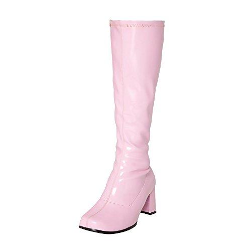 Kick Footwear Damen Knie Hoch Hoch Block Ferse Lange Stiefel - UK 7/EU 40, Rosa (Knie Stiefel Hohe)