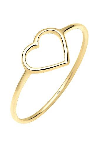 Elli Premium Ring Damen Herz Geo Minimal in 375 Gelbgold