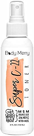 Body Merry Super C-22 Toner- Best Botanical Oils to Calm Acne, Minimize Pores & Remove Oil & Dirt for Clean and Clear Skin with the Power of 22% Vitamin C Serum + Natural Organic Aloe + Witch
