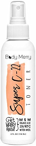 Body Merry Astringents pour visage - 22% de vitamine C, MSM, hamamélis et Aloe Vera, huiles essentielles-4 oz