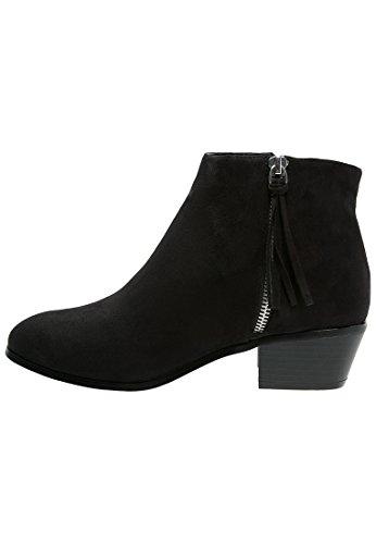 Even&Odd Ankle Boots Damen in Schwarz – Kurzschaft Stiefel mit 4 cm Absatz in Cowboy Western Style, 39 (Leder-cowboy-stiefel Schwarze)