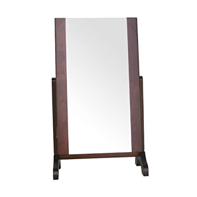 Dark Wooden Dressing Table Mirrored Jewellery Cabinet with Wooden Trim - inexpensive UK light shop.